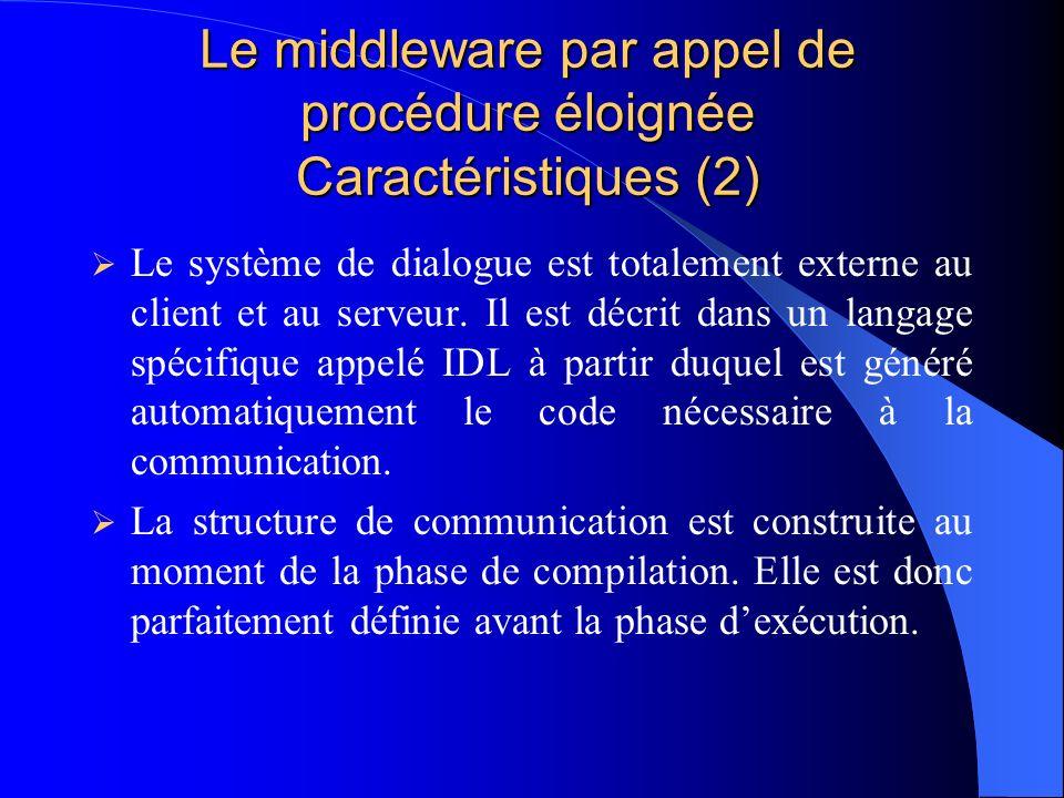 Le middleware par appel de procédure éloignée Caractéristiques (2)