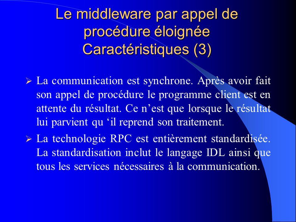 Le middleware par appel de procédure éloignée Caractéristiques (3)
