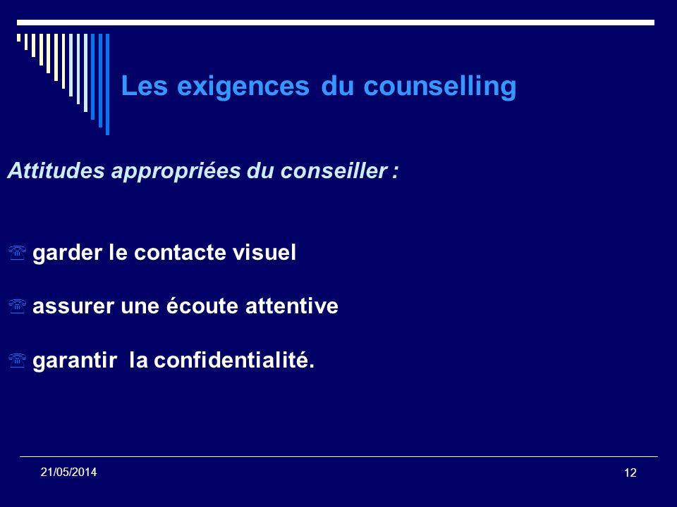 Les exigences du counselling