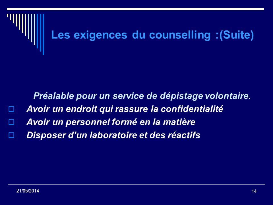 Les exigences du counselling :(Suite)