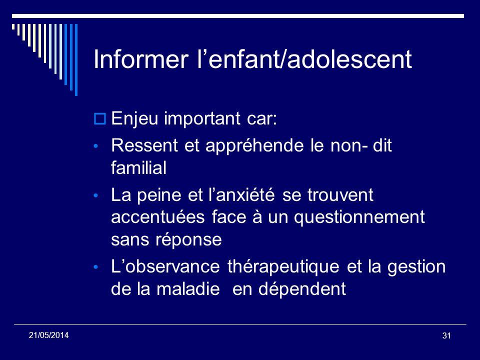 Informer l'enfant/adolescent