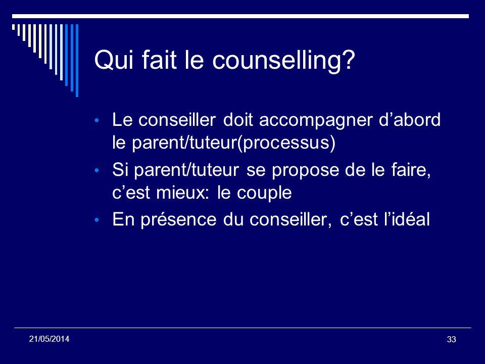 Qui fait le counselling