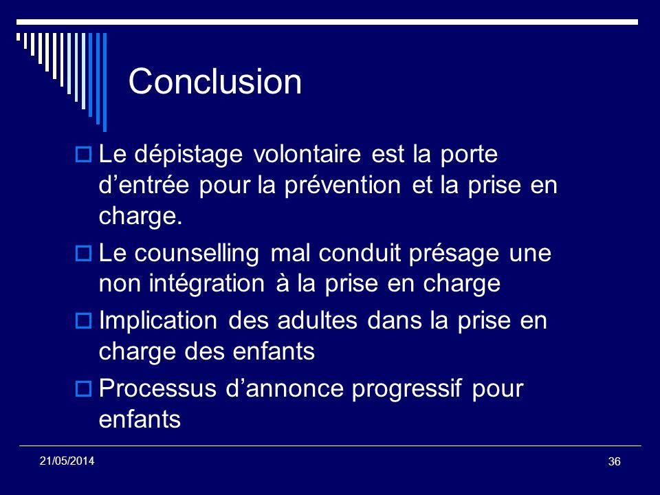 Conclusion Le dépistage volontaire est la porte d'entrée pour la prévention et la prise en charge.