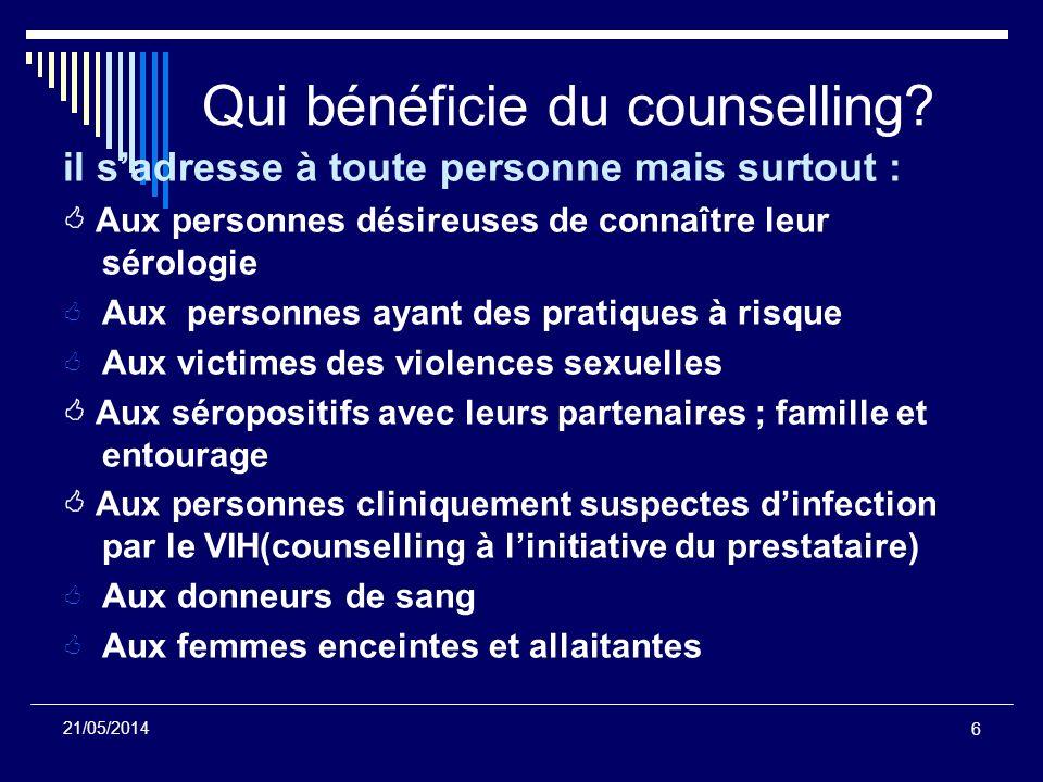 Qui bénéficie du counselling
