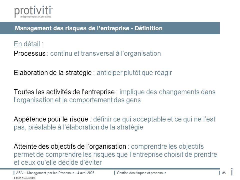 Management des risques de l'entreprise - Définition