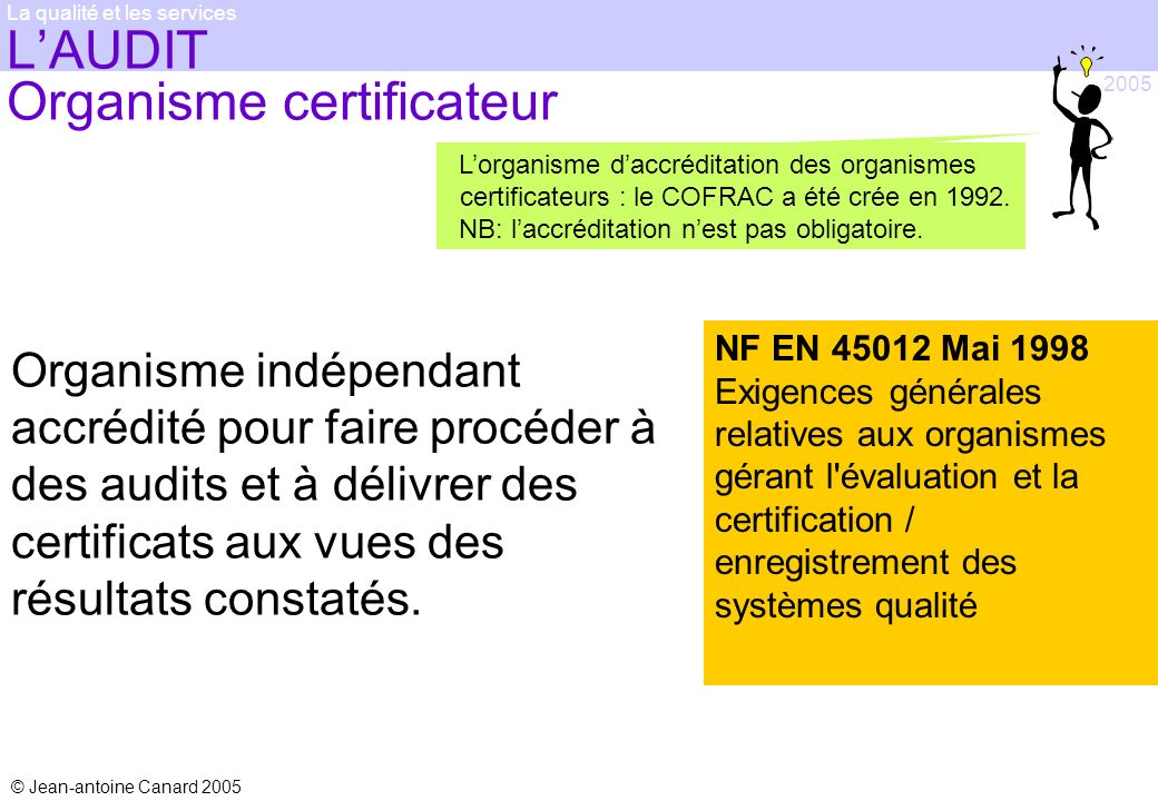 L'AUDIT Organisme certificateur