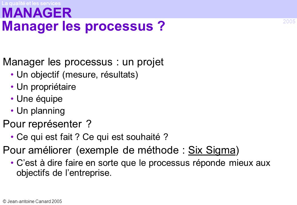 MANAGER Manager les processus