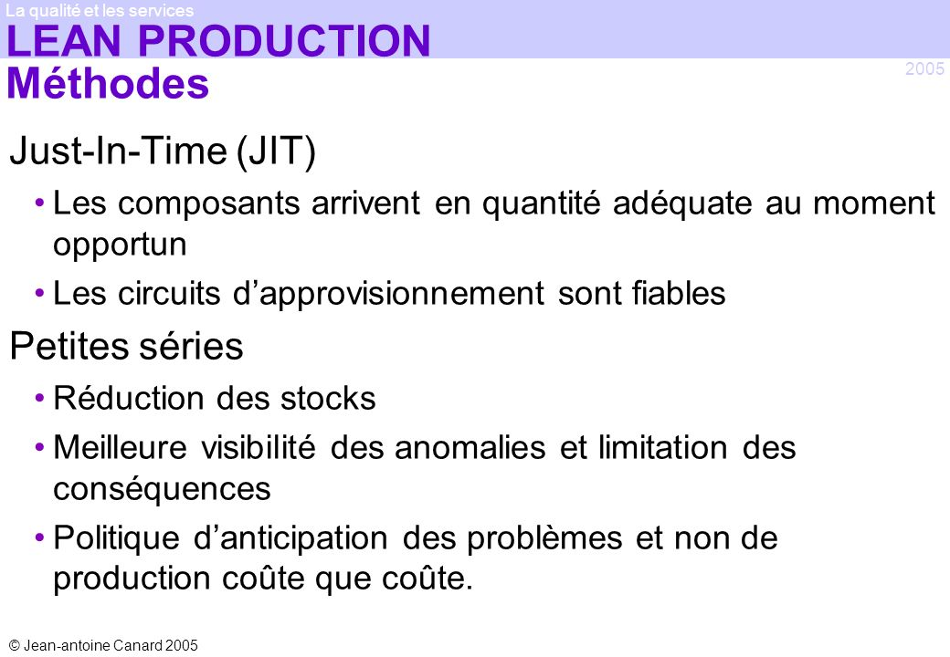 LEAN PRODUCTION Méthodes
