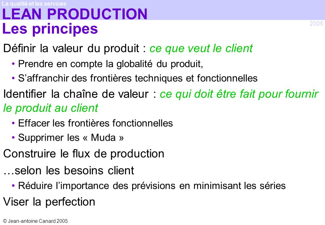 LEAN PRODUCTION Les principes