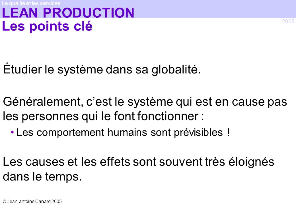 LEAN PRODUCTION Les points clé