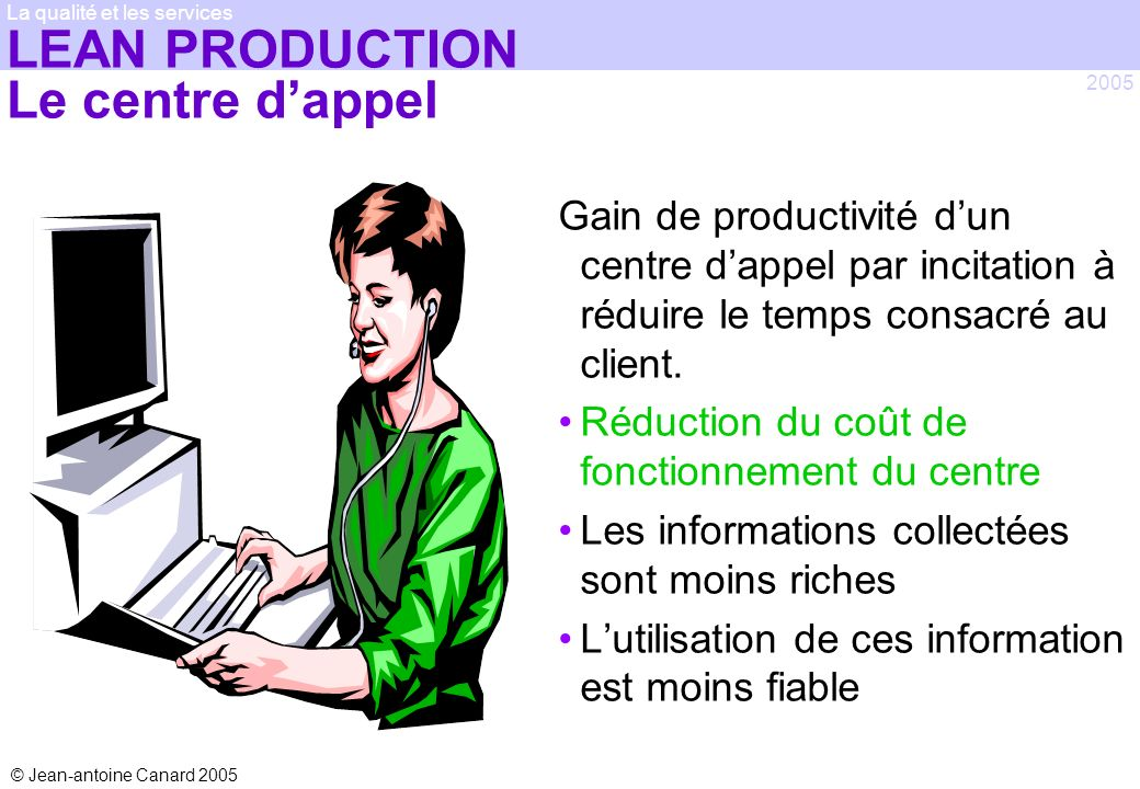 LEAN PRODUCTION Le centre d'appel