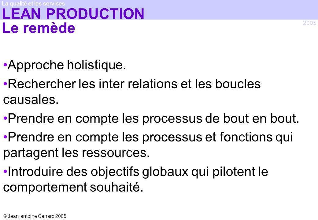 LEAN PRODUCTION Le remède