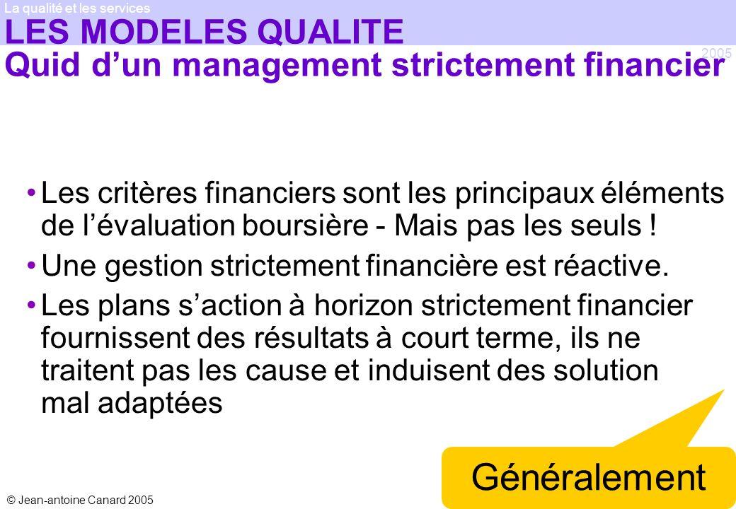 LES MODELES QUALITE Quid d'un management strictement financier