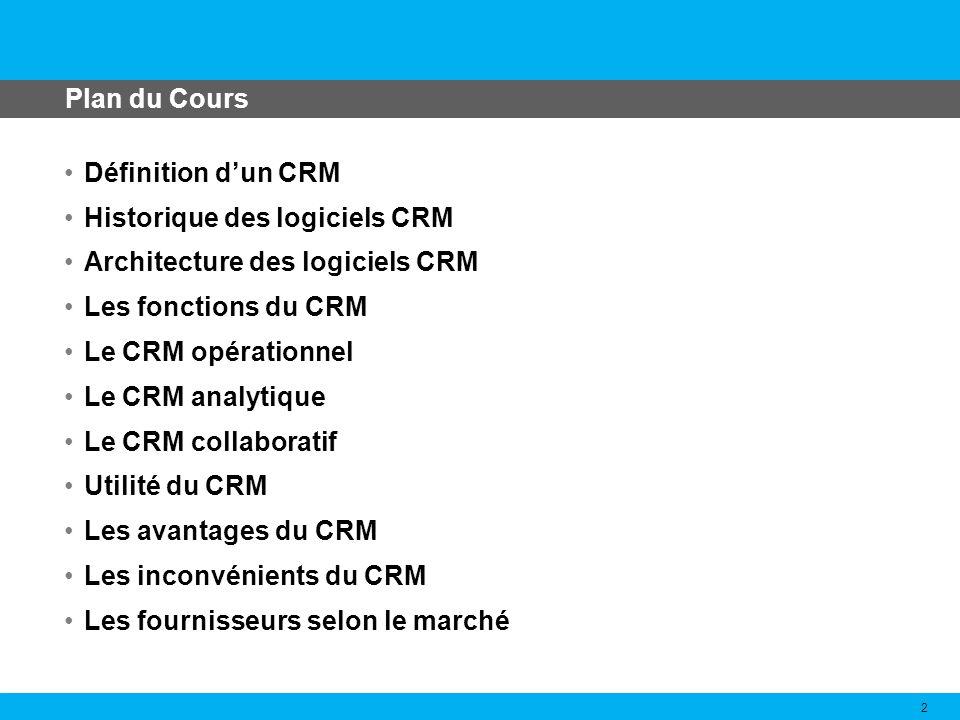 Plan du Cours Définition d'un CRM. Historique des logiciels CRM. Architecture des logiciels CRM. Les fonctions du CRM.