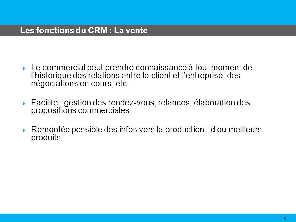Les fonctions du CRM : La vente