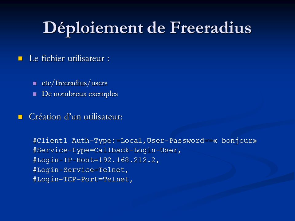 Déploiement de Freeradius