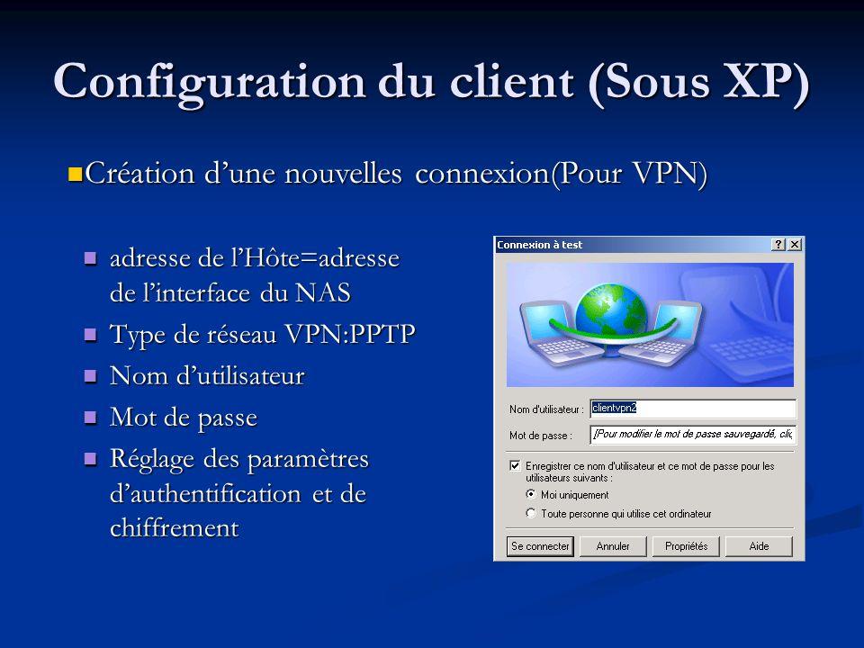 Configuration du client (Sous XP)