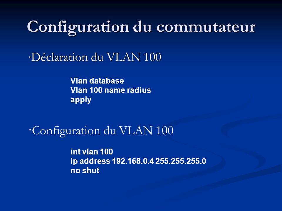 Configuration du commutateur