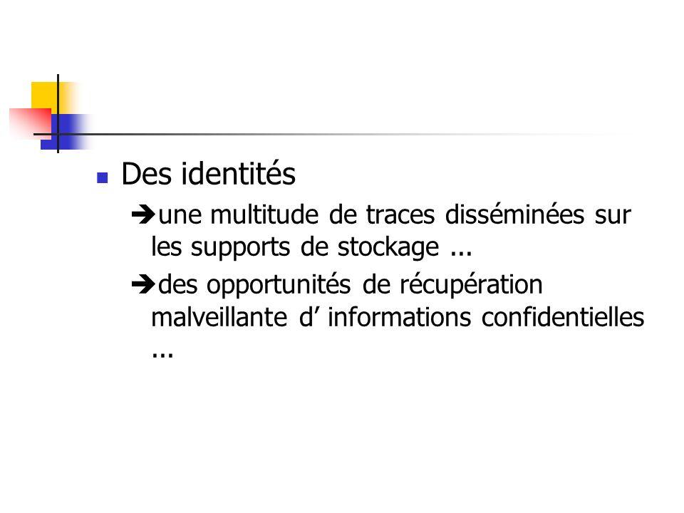 Des identités une multitude de traces disséminées sur les supports de stockage ...