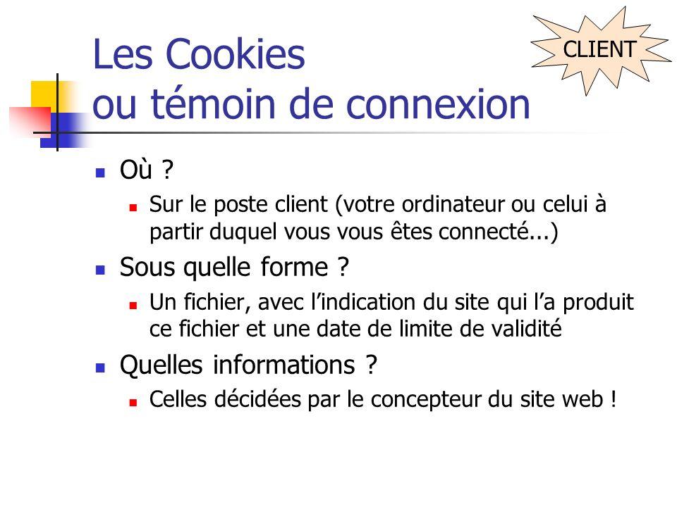 Les Cookies ou témoin de connexion