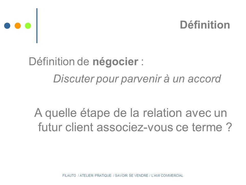 Définition Définition de négocier : Discuter pour parvenir à un accord. A quelle étape de la relation avec un futur client associez-vous ce terme