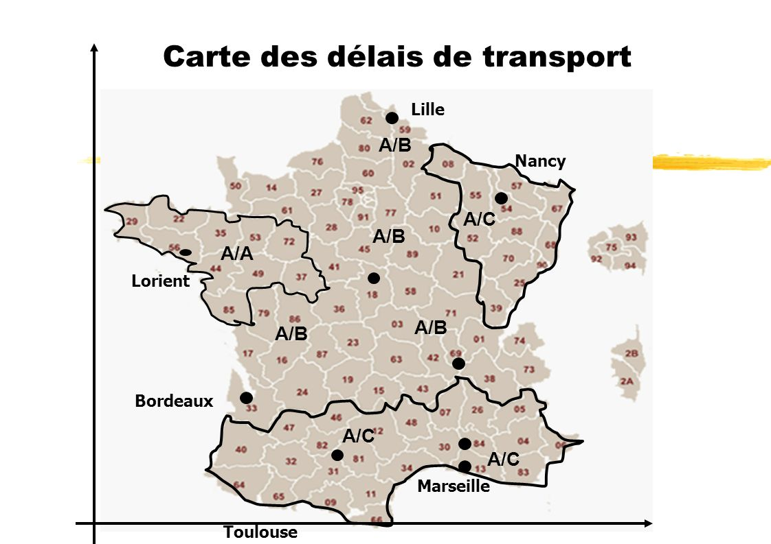 Carte des délais de transport