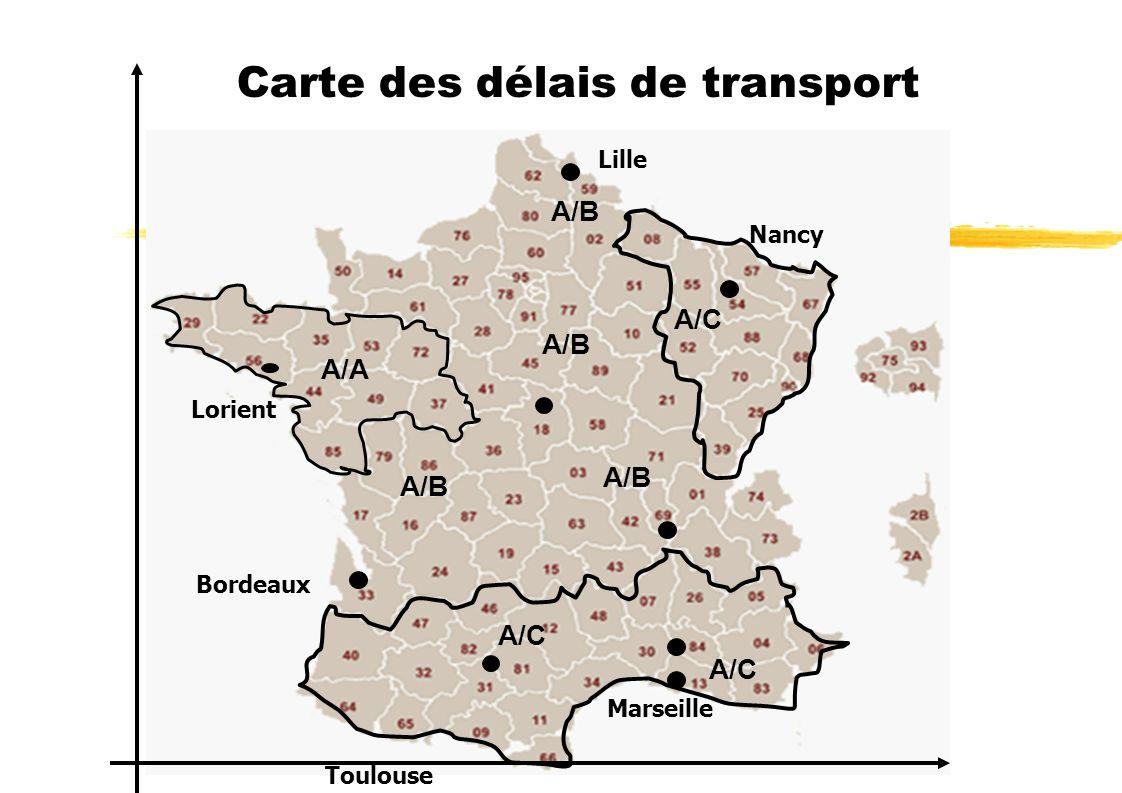 Carte des délais de transport