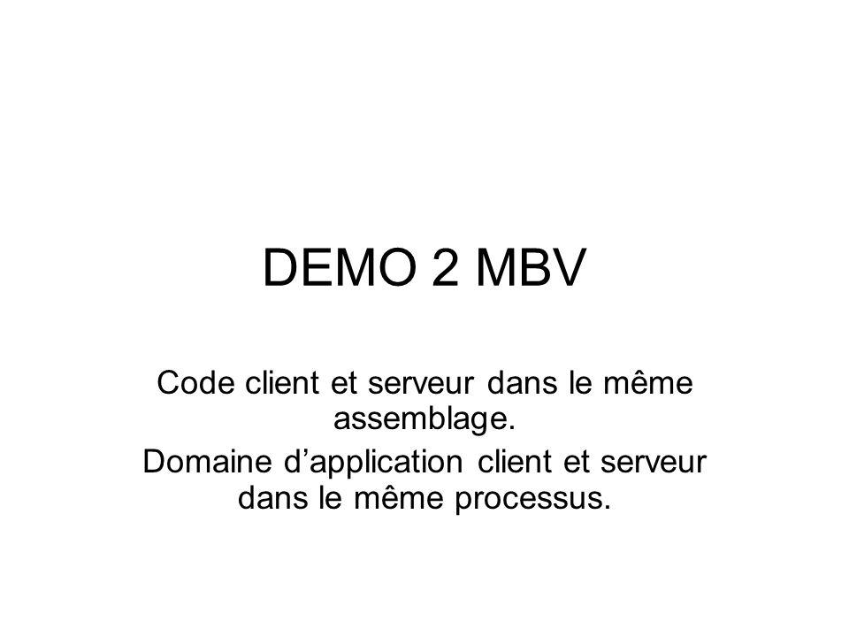 DEMO 2 MBV Code client et serveur dans le même assemblage.