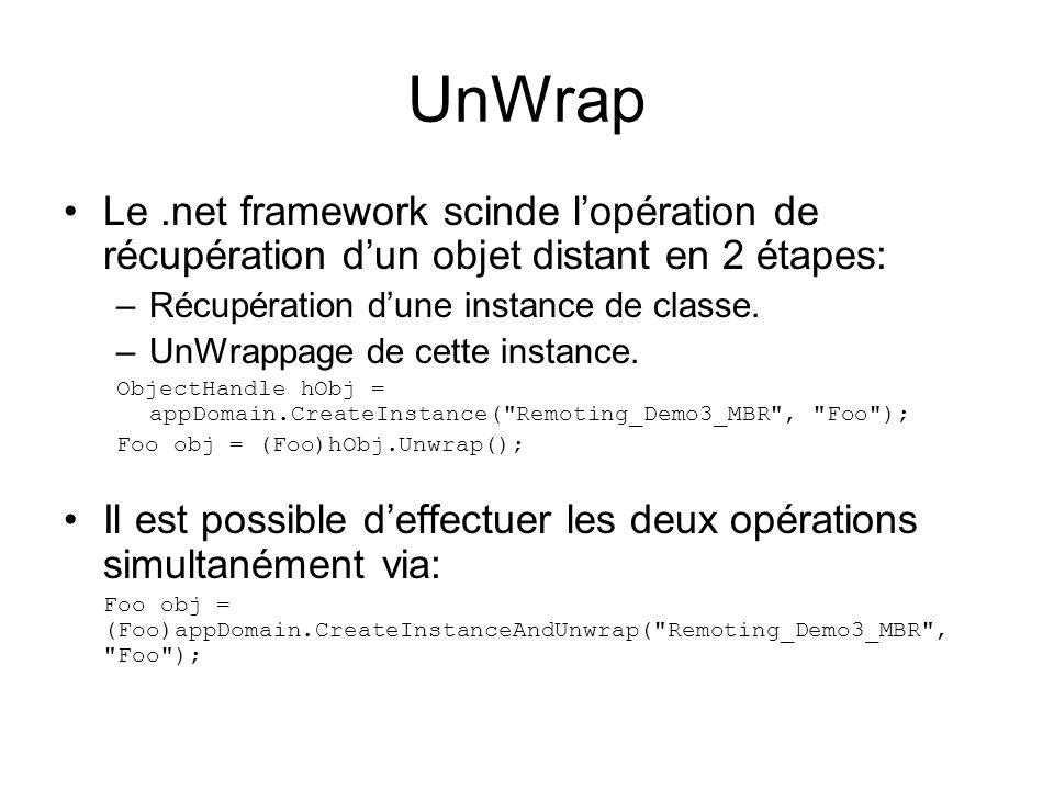 UnWrap Le .net framework scinde l'opération de récupération d'un objet distant en 2 étapes: Récupération d'une instance de classe.