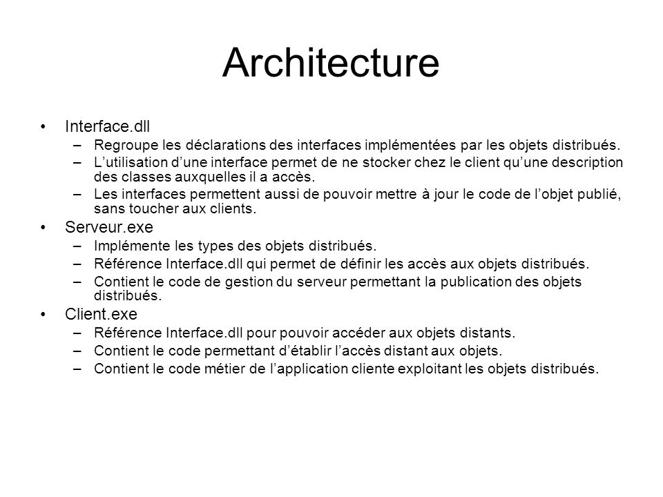 Architecture Interface.dll Serveur.exe Client.exe