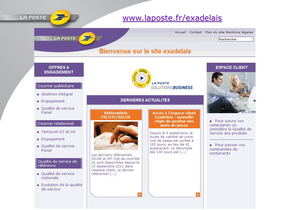 www.laposte.fr/exadelais Page d'accueil