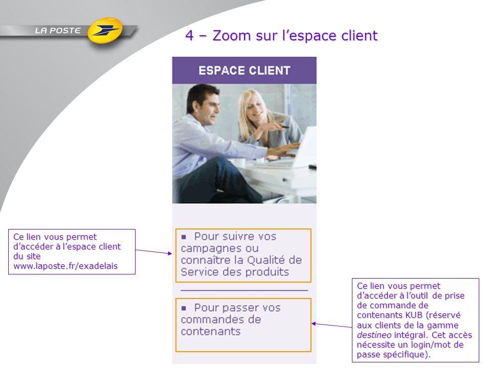 4 – Zoom sur l'espace client