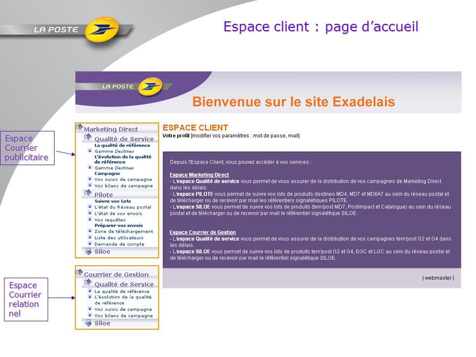 Espace client : page d'accueil