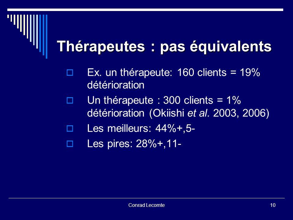 Thérapeutes : pas équivalents