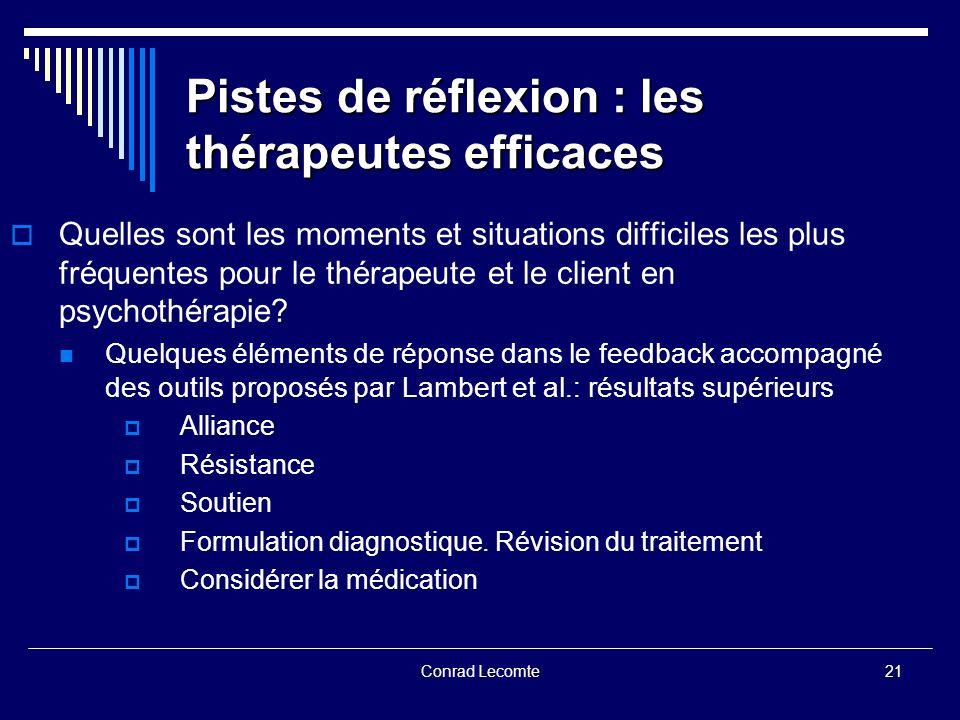 Pistes de réflexion : les thérapeutes efficaces