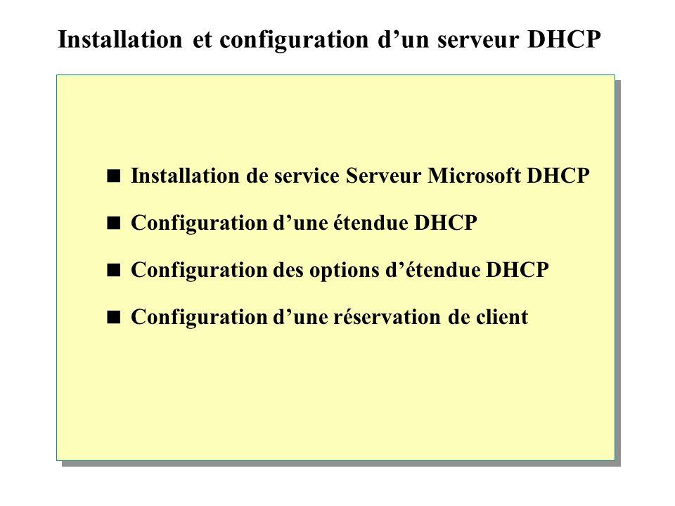 Installation et configuration d'un serveur DHCP