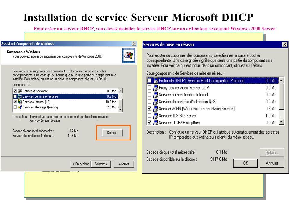 Installation de service Serveur Microsoft DHCP