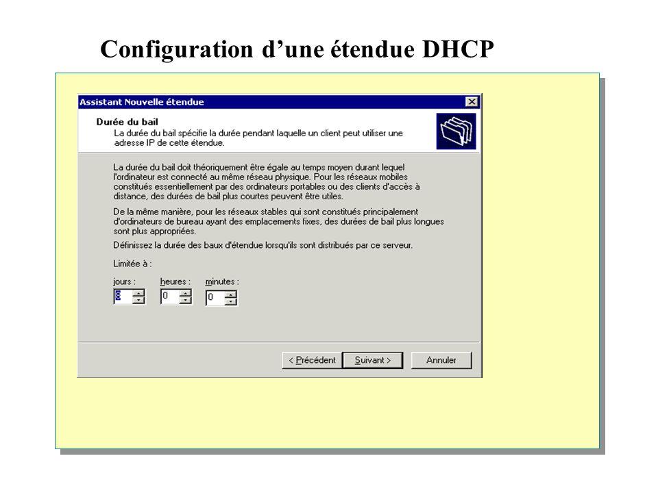 Configuration d'une étendue DHCP