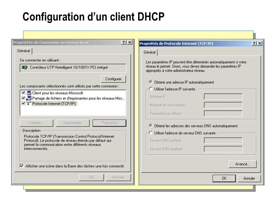 Configuration d'un client DHCP