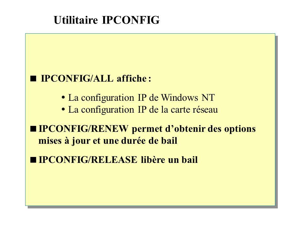 Utilitaire IPCONFIG  IPCONFIG/ALL affiche :