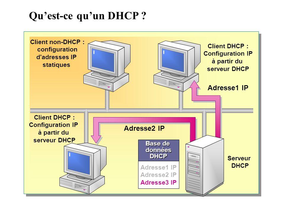 Qu'est-ce qu'un DHCP Adresse1 IP Adresse2 IP