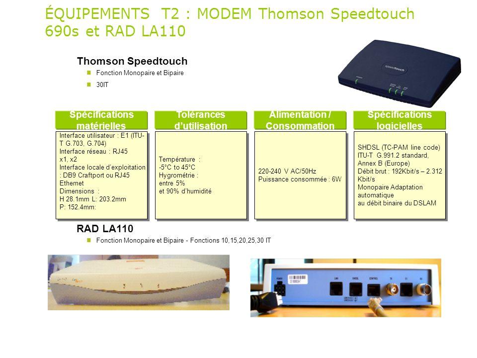 ÉQUIPEMENTS T2 : MODEM Thomson Speedtouch 690s et RAD LA110