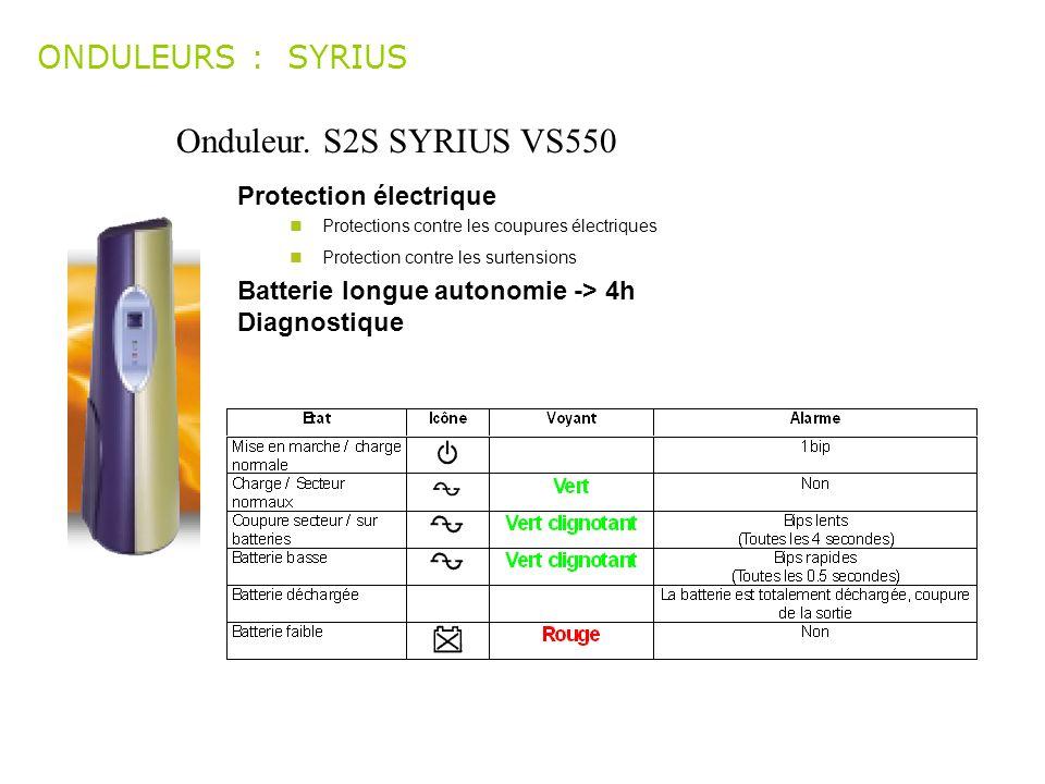 Onduleur. S2S SYRIUS VS550 ONDULEURS : SYRIUS Protection électrique