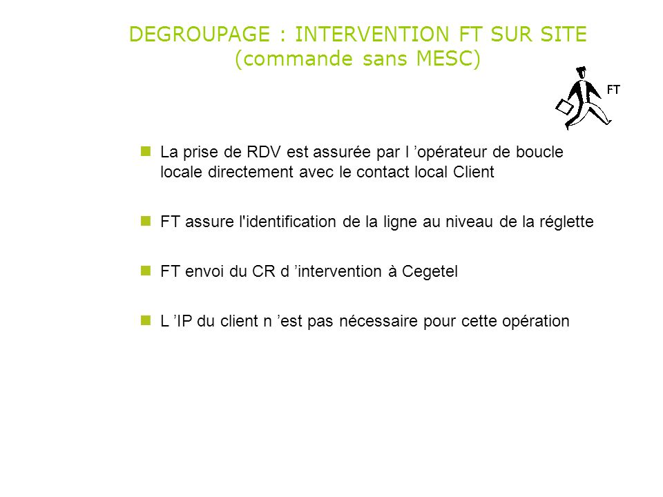 DEGROUPAGE : INTERVENTION FT SUR SITE (commande sans MESC)