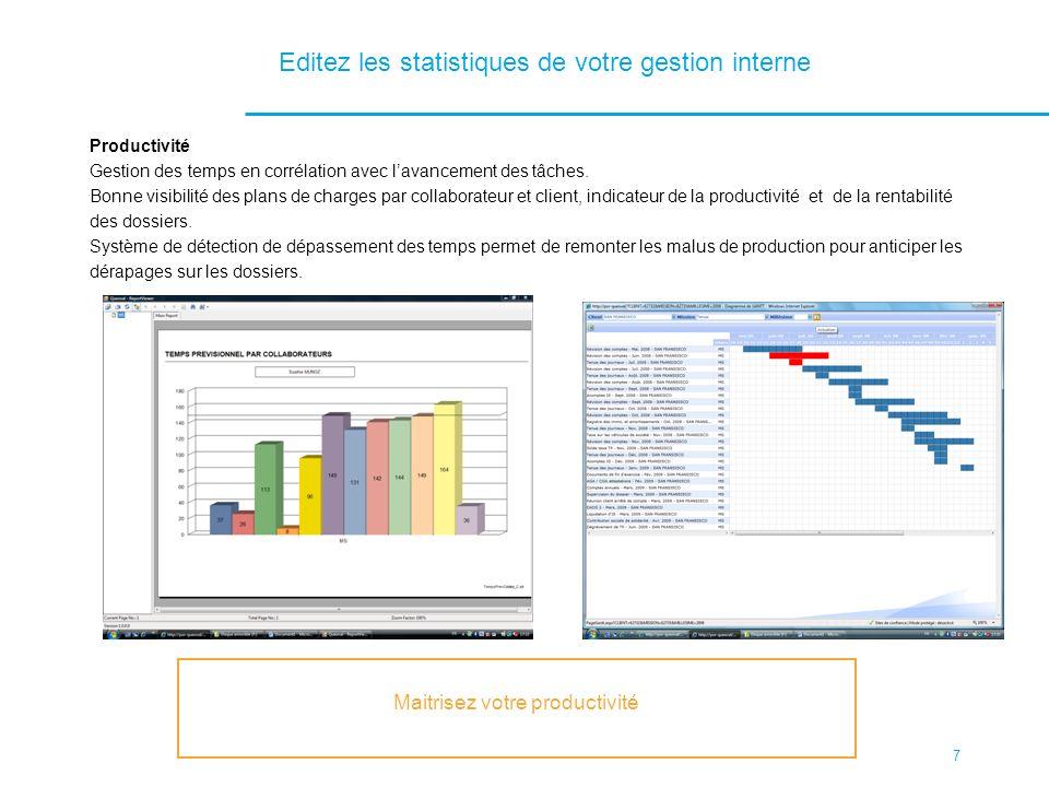 Editez les statistiques de votre gestion interne