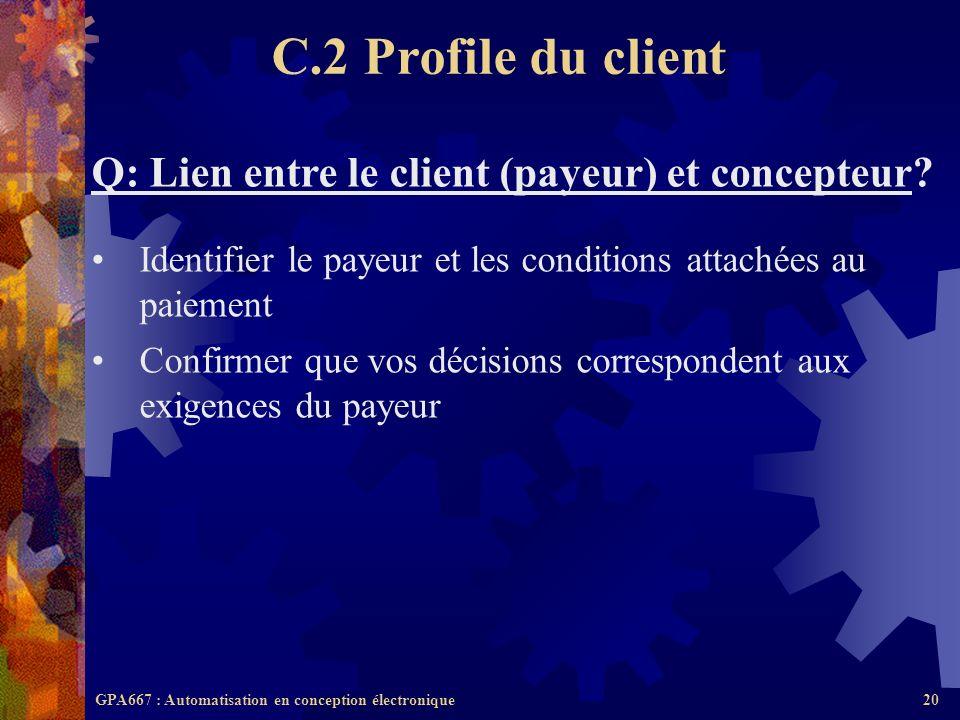 C.2 Profile du client Q: Lien entre le client (payeur) et concepteur
