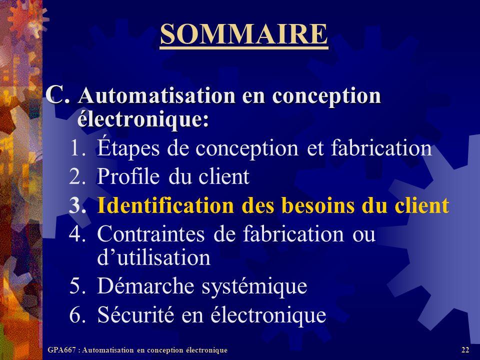 SOMMAIRE C. Automatisation en conception électronique: