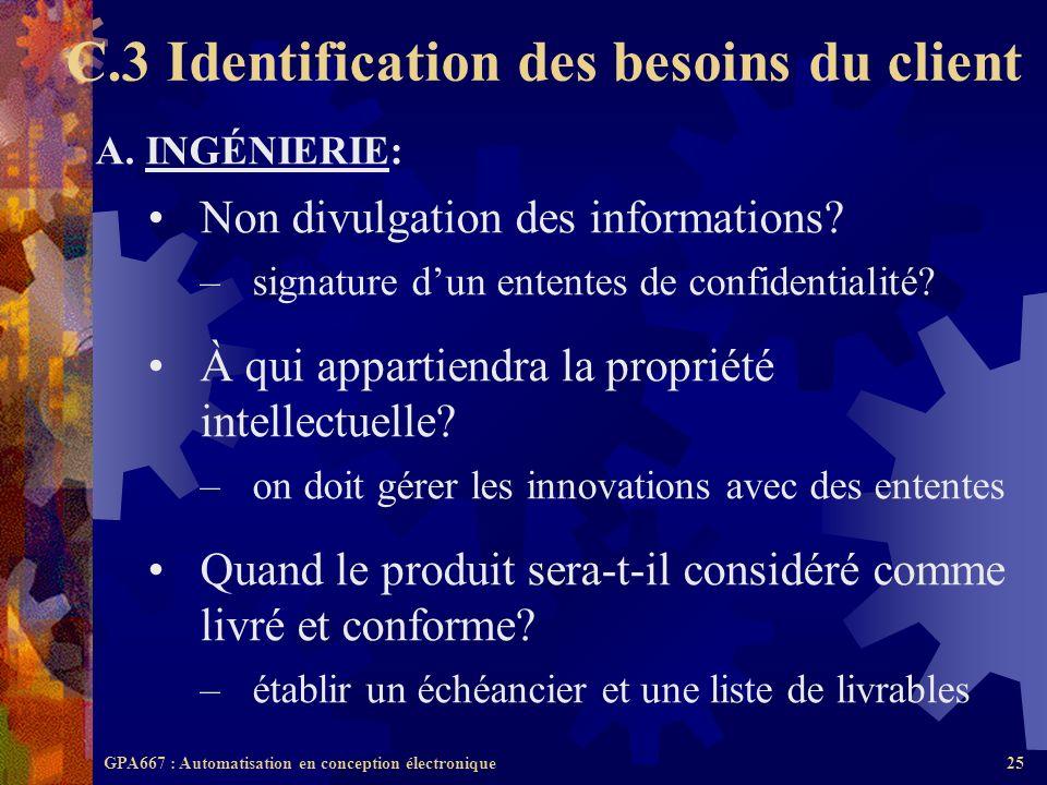 C.3 Identification des besoins du client