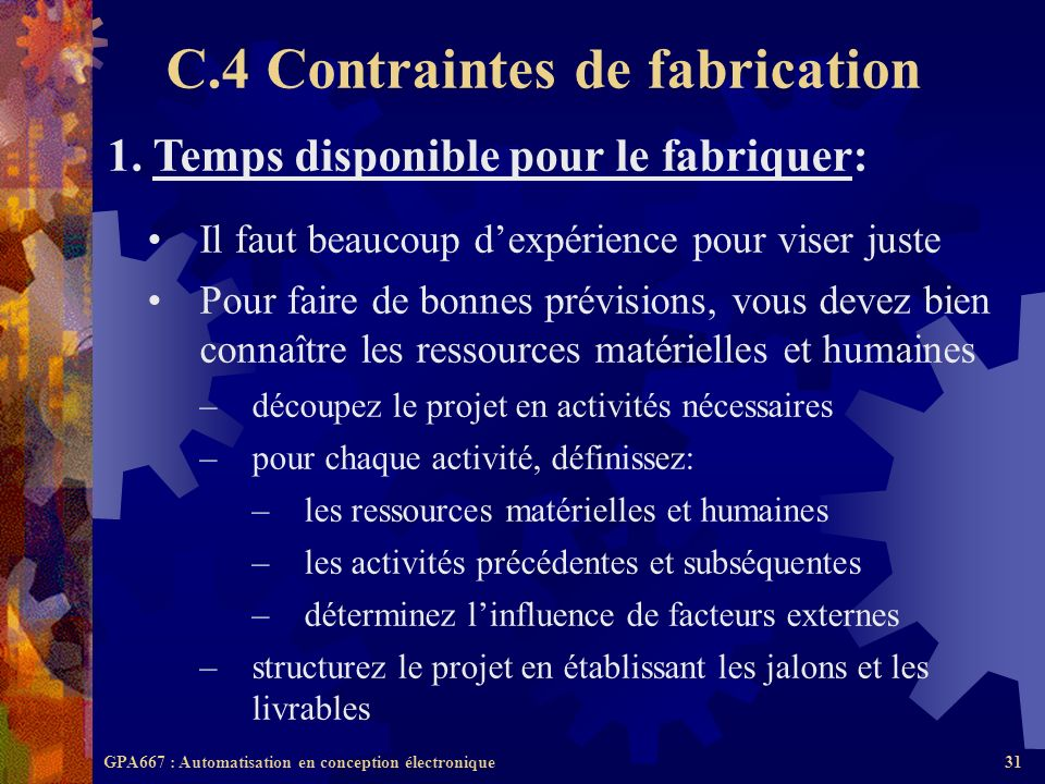 C.4 Contraintes de fabrication
