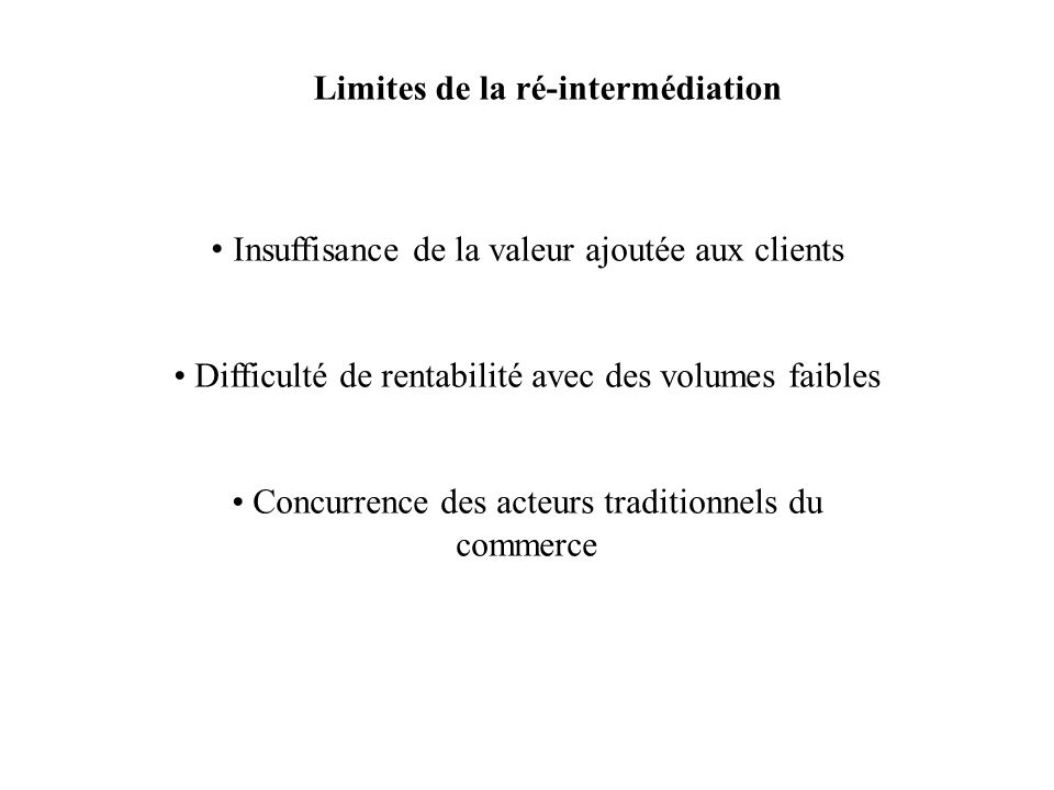 Limites de la ré-intermédiation